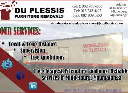 Du Plessis Furniture Removals | Middelburg