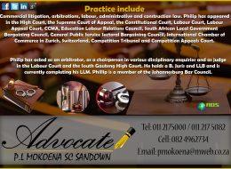 Advocate P.L Moekoena SC Sandown