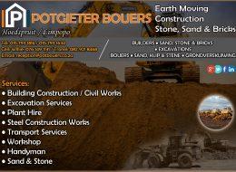 Potgieter Bouers – Earth Moving, Construction, Stone, Sand & Bricks | Hoedspruit / Limpopo