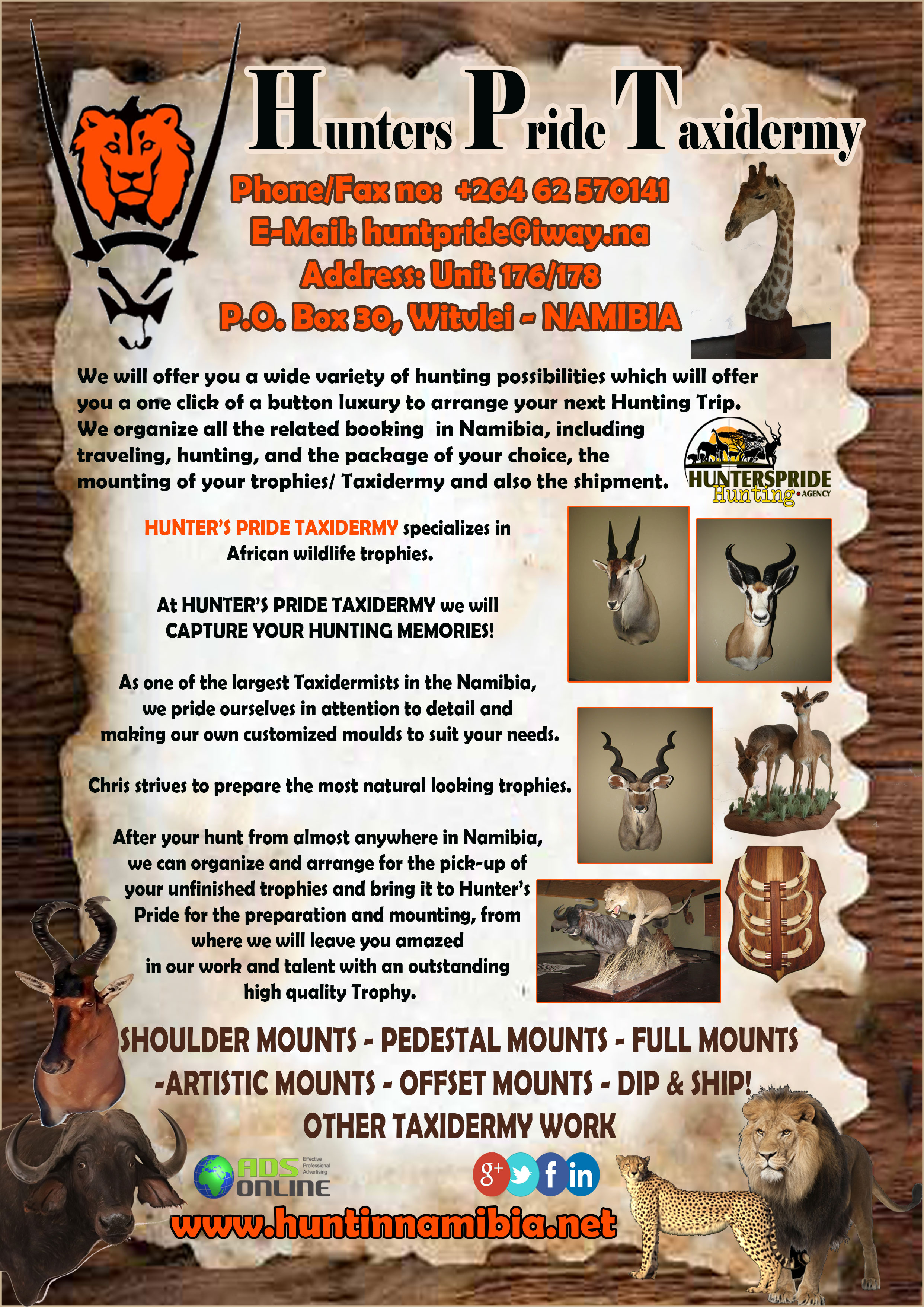 Hunters Pride Taxidermy | Namibia – Taxidermists in Namibia