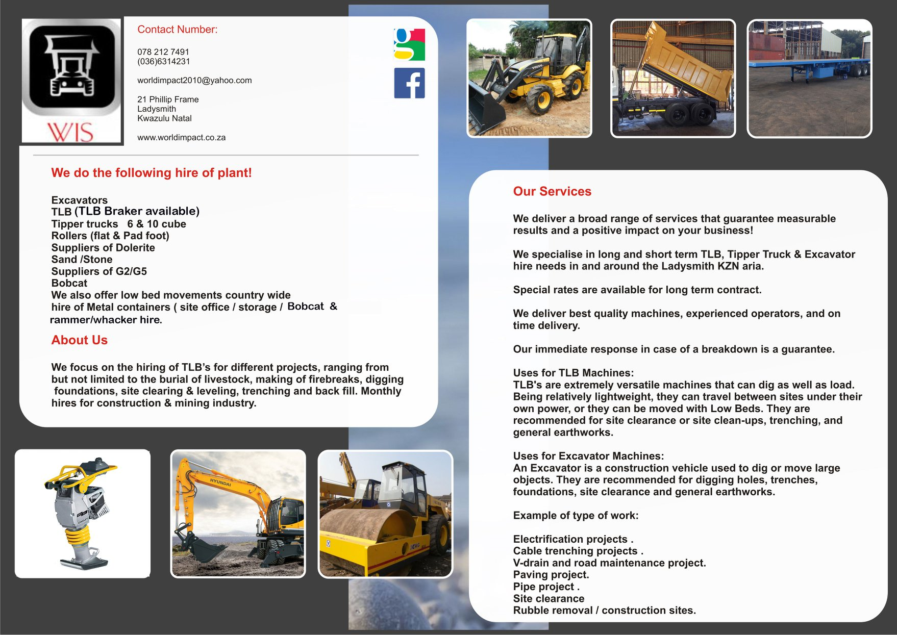World Impact Suppliers – Suppliers of  TLB Hire, Tipper Truck hire & Excavator hire Ladysmith Kwazulu-natal