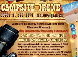 Campsite Irene – Accommodation | Otjozondjupa, Namibia