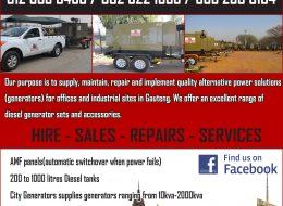 City Generators – Hire & Sales   Gezina, Pretoria