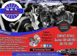 Q & A MOTORS – SERVICES – GENERAL REPAIRS – AUTO DIAGNOSTICS – ENGINE OVERHAULS | Bayview