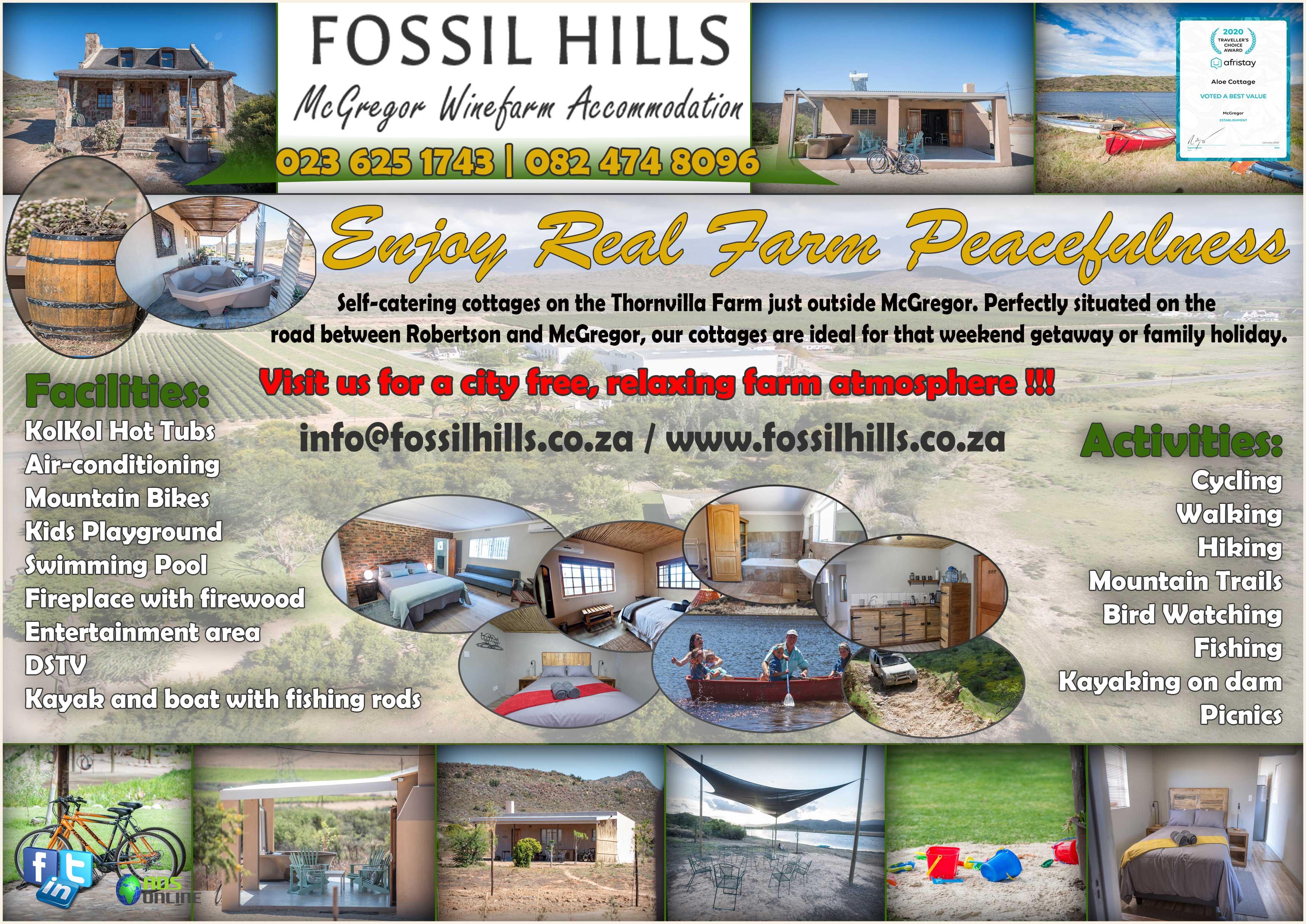 Fossil Hills – McGregor Winefarm Accommodation   Thornvilla, Western Cape