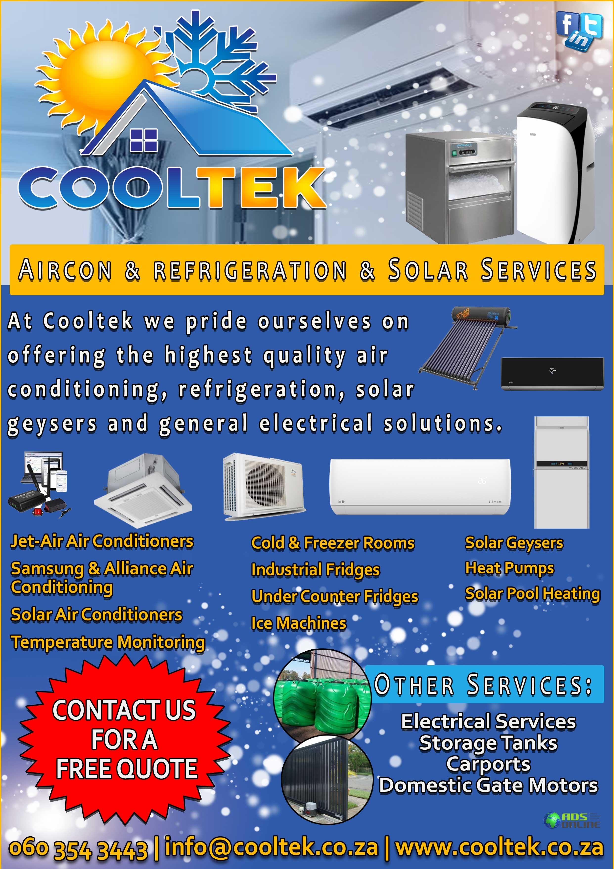 COOLTEK – Aircon & refrigeration & Solar Services | Alberton, Gauteng