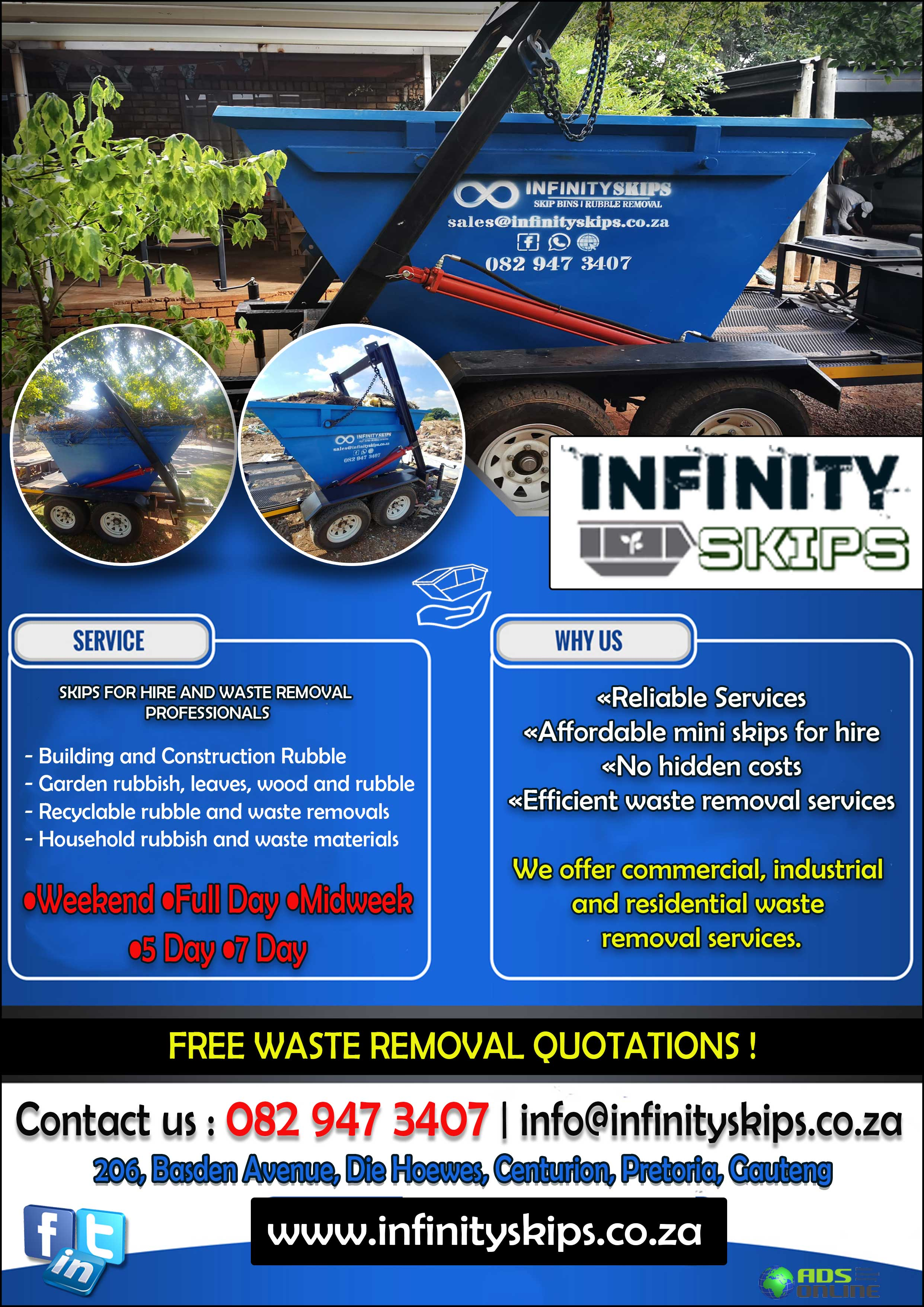 Infinity Skips – Mini Skips For Hire And Waste Removal Services | Erasmuskloof, Pretoria East, Gauteng