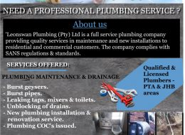 LeonSwan Plumbing (Pty) Ltd   Pretoria & Johannesburg, Gauteng