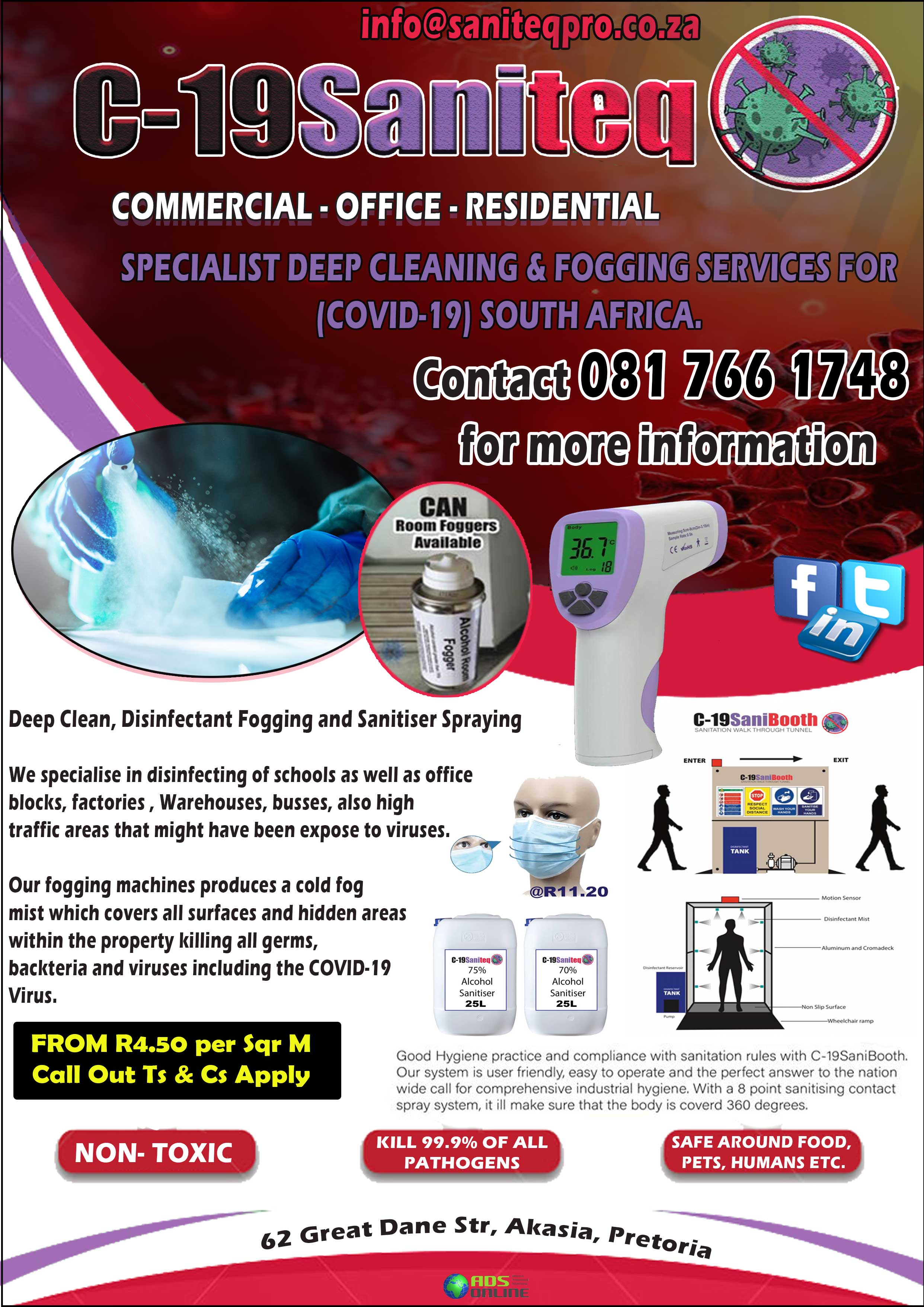 C-19 Saniteq – SPECIALIST DEEP CLEANING & FOGGING SERVICES FOR (COVID-19) SOUTH AFRICA. | Pretoria, Gauteng
