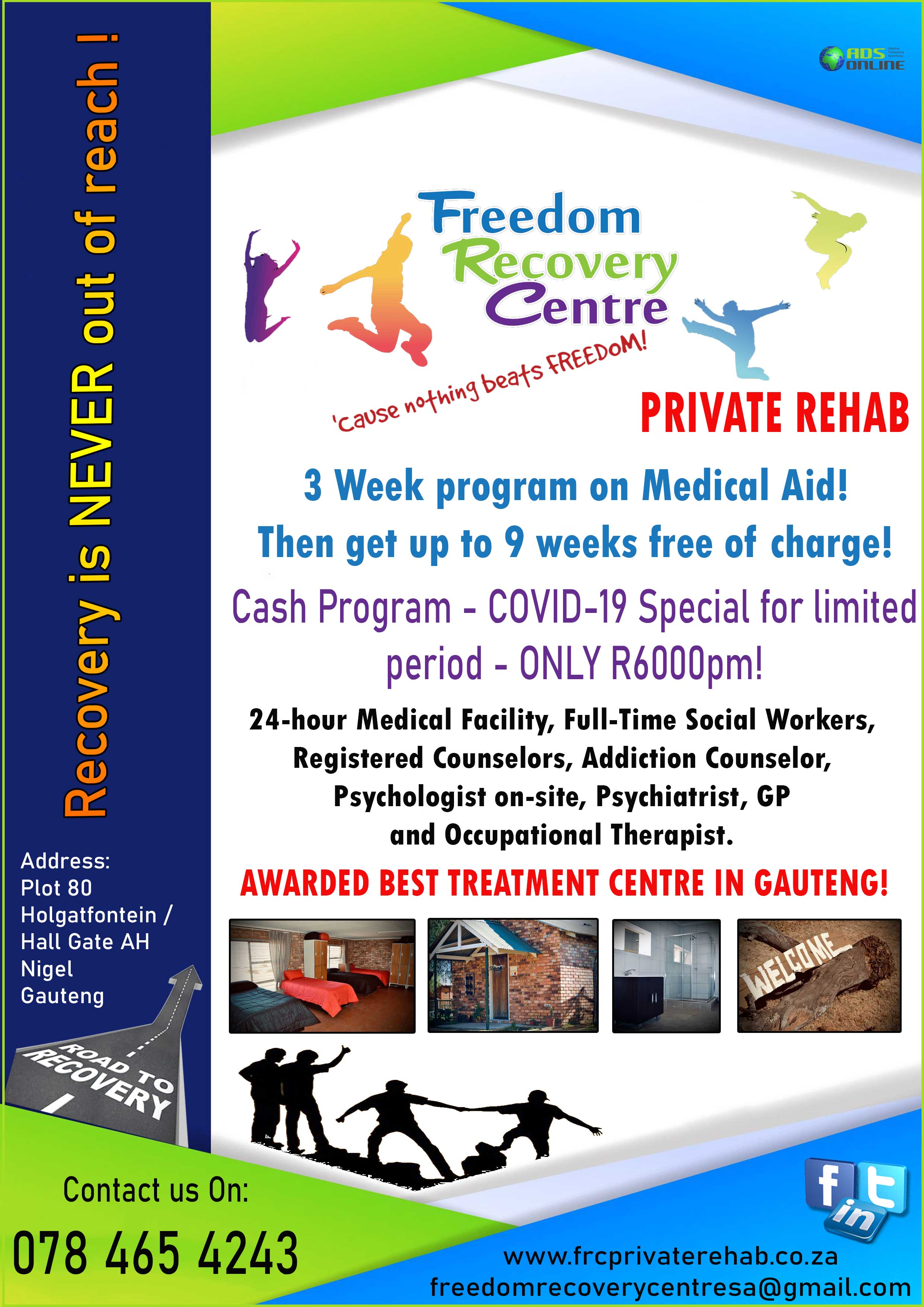 FREEDOM RECOVERY CENTRE – Private Rehab   Nigel Gauteng