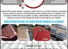 MAMMOTH ROOFING REPAIRS – CARPORTS AND STEELWORKS | PRETORIA GAUTENG