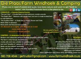 DIE PLAAS/FARM WINDHOEK & CAMPING – Bloemfontein, Free State