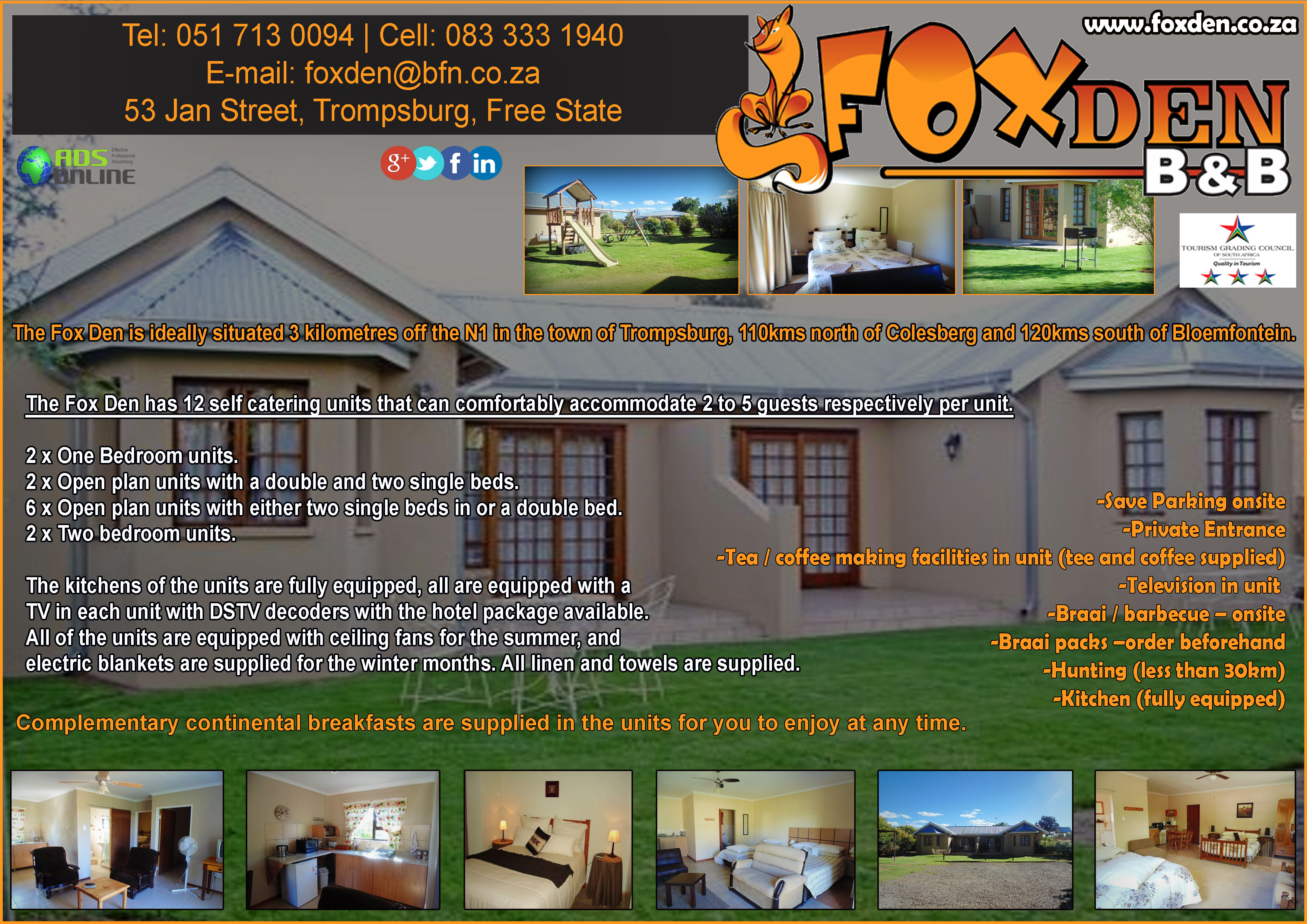 Fox Den Bed and Breakfast Guest House | Trompsburg, Free State